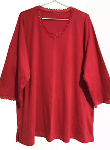 Ladies Size 18 Red, 3/4 Sleeve Basic T-Shirt Top w/Red Lace Trim (As New)
