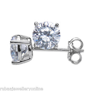 ROUND WHITE CUBIC ZIRCONIA WHITE GOLD PLATED 925 STERLING SILVER STUD EARRINGS