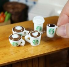 Doll House Accessories 1:12th Miniature Set of 5 Different Starbucks Mugs