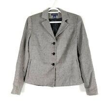 Ann Taylor Women's 3 Button Blazer Size 4 100% Wool Black & White Herringbone