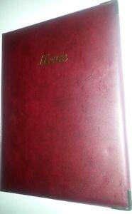 QTY 20-A4 MENU COVER/FOLDER IN BURGUNDY LEATHER LOOK PVC-CLASSIC + guilt corners