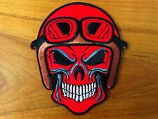 Red Skull Head Helmet Goggle Biker Rider Motorcycle Sew Iron on Patch