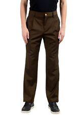 Versace versus Hombre Lana Verde Oscuro Vestido Plisado Pantalones Eu 34 It 50