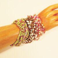 Set of 3 Bright Multi Color Handmade Beaded Stretch Elastic Seed Bead Bracelets