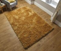 DAZZLE SPARKLE OCHRE YELLOW  SILKY SOFT SHAGGY RUG  in various sizes