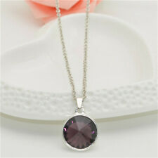 Women's Fashion Silver Chain Round purple Crystal Pendant Necklace Jewelry NEW