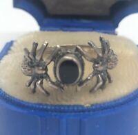 Vintage Sterling Silver Ring 925 Size 7.5 Black Onyx
