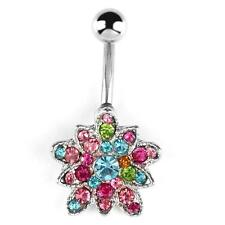 USA - Stainless Rhinestone Crystal Belly Button Bar Ring Piercing  Flower belly