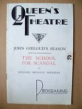 QUEEN'S THEATRE PROGRAMME- THE SCHOOL FOR SCANDAL by Richard B Sheridan