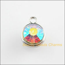 6Pcs Dull Silver Plated Round White AB Crystal Charms Pendants 18x19.5mm