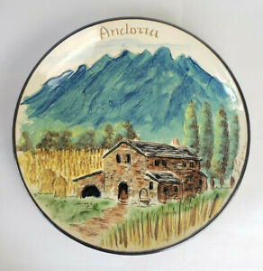 """Hand Painted Andorra Pottery Charger Wall Plate House Landscape Mountains 11"""""""