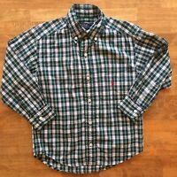 Ralph Lauren Boys Sz 4 Blue Green Plaid Collar Dress Shirt Long Sleeve Polo Pony