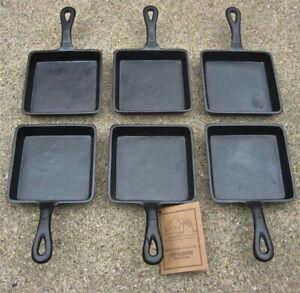 Square Single Serve Cast Iron Skillet - Preseasoned Set of 6 -Old Mountain