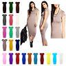 New ladies Womens Short Cap Sleeves Stretch Plain Maxi Bodycon Midi Dress 8-26
