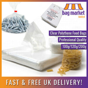 Food Grade Clear Polythene Bags   Plastic/Freezer/Storage/Sandwich/Poly/Strong
