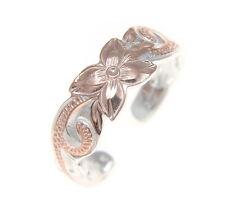 Hawaiian Plumeria Flower Scroll Toe Ring 6Mm Pink Rose Gold Sterling Silver 925