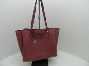 Kenneth Cole Reaction Womens Mauve Faux Leather Dual Strap Large Tote Bag -VGC