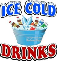 Ice Cold Drinks DECAL (Choose Your Size) Concession Food Truck Vinyl Sticker