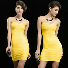 GORGEOUS Womens Bodycon Bandage Dress Strapless Evening Cocktail Dress Yellow S