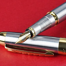 New Luxury 250 Medium Nib Fountain Pen Luxury Gold & Silver Stainless Steel Gift