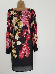NEW ADRIANNA PAPELL BLACK FLORAL SHIFT DRESS SIZE 8 PARTY OCCASION WOMEN'S