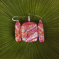 Red Multi Color Fused Dichroic Art Glass Jewelry Matching Pendant Earrings Set
