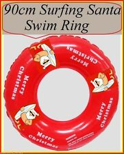 SURFING SANTA Merry Christmas 90cm Red SWIM RING TUBE Inflatable Beach Pool Toy
