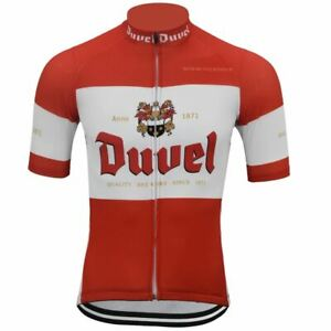 Duvel Cycling Jersey Short Sleeve Summer Red White Clothing Cycling Wear Racing