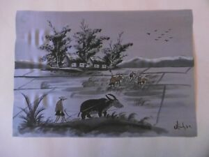 Chinese hand painting on silk c1960 signed. One of a lot from private collection