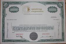 Specimen Stock Certificate: 'Speedring Corporation'- Airplane Instruments/Gauges