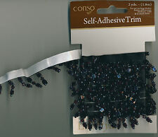 "TRIM Self Adhesive Black 5/8"" Drop Dangle Beads 2 YARDS 3/8"" W Crafts Sewing 72"""