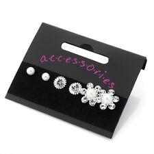 Diamante Stud Earrings & Faux Pearl Stud Earrings 3 Pairs Silver Colour