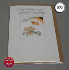 Embroidered Golden Wedding Anniversary Card Handmade in UK K73  50 years