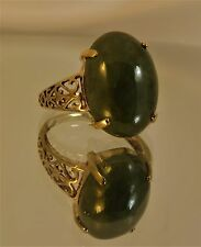 REDUCED Attractive 9ct Yellow Gold GREEN AGATE Signet Dress Ring size O Hm br22