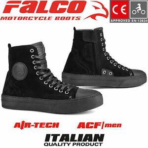 FALCO Motorradschuhe LENNOX Herren schwarz Leder Sneaker Protektoren CE Gr. 45
