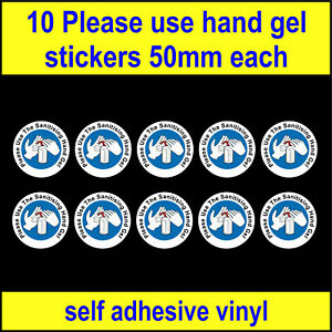 10 Use hand gel, Wash Hands sign, Safety food hygiene decal toilet sink Stickers