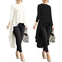 Women Long Sleeve Asymmetrical Waterfall Shirt Tops High Low Plus Blouse Fashion