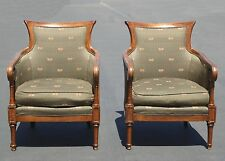 Pair Vintage Tommy Bahamas Accent Chairs Green with Cane Sides