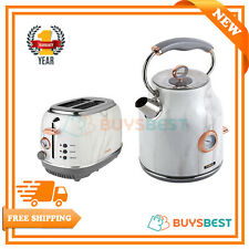 Tower 1.7 L Stainless Steel Kettle & 2 Slice Toaster Set In Marble & Rose Gold