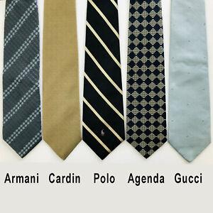 5 Designer Silk NECK TIES | Armani, Cardin, Gucci, Polo, Agenda