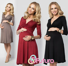 Ladies Maternity Skater Dress Ruffle V Neck Long Sleeve Plus Sizes 8-18 FM15