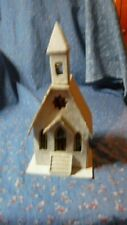 "Vintage Japan Village Building Church Flashing Light Inside Battery About 7"" H"
