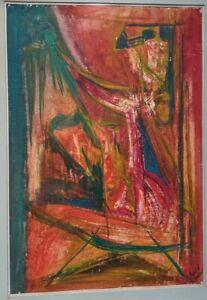 Aharon Kahana gouache composition Exquisite Jewish German born Israeli
