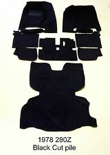 COMPLETE FLOOR REPLACEMENT CARPET FOR NISSAN 1978 280Z BLACK CUT PILE
