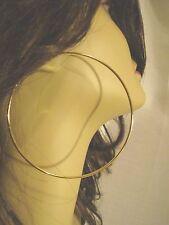 LARGE 3.5 INCH SIMPLE THIN HOOP EARRINGS GOLD TONE HOOP EARRINGS 3 PAIRS PER LOT