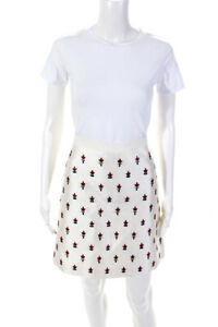 Tory Burch Womens Silk Leather Floral A-Line Skirt White Size 6