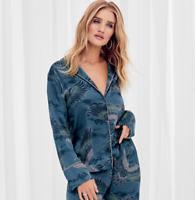 M&S Pyjama Set Blue Rosie Satin Crane Print 16 BNWT Marks Autograph