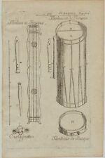 TAMBURIN Orff-Instrument Hofmusik Orig Kupferstich um 1760 Musik Musikinstrument