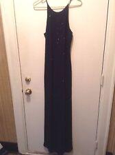Women's Chelsea Nites Long Black Beaded Formal Evening Gown Dress Size 12