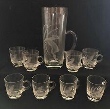 Vintage 9pc Bar Set Etched Glass Deer Stag Pitcher & 8 Handled Shot Glasses Mugs